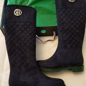 Knee high boots navy quilted microfiber suede